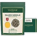 VAHDAM, hojas sueltas de té blanco con aguja de plata (25 tazas)   Té MÁS SALUDABLE, 100% hojas de té blanco natural   Potentes anti-OXIDANTES, sin cafeína   Preparar como té helado caliente   50gm