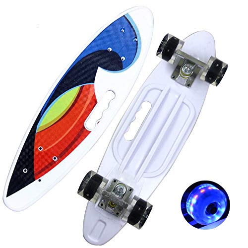 Vierrad 22 Zoll mit Griff Fischbrett Skateboard Bürste Straße Bananenbrett Kinder Roller PU mit hellem Rad weiß