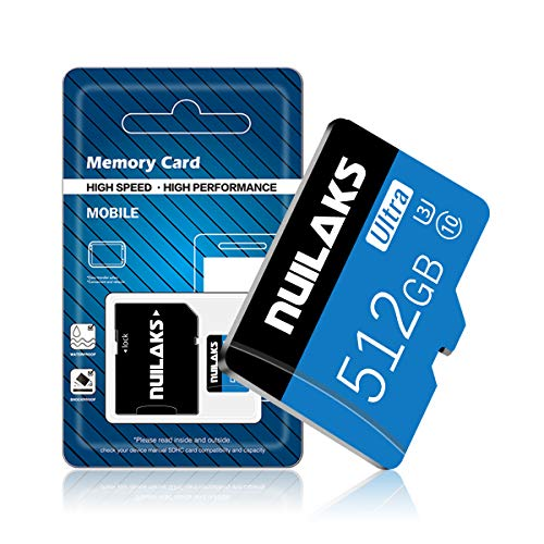 512 GB MicroSD-Karte High Speed Micro SD Karte für Nintendo Switch, Klasse 10 Speicherkarte für Android Smartphone Digitalkamera Tablet und Drohne (blau 512 GB)
