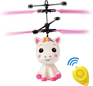 Fboraiz Flying Unicorn Toys Robot RC Helicopter for Kids,Mini Drone Infrared Induction by Hand Flying Ball with Remote Control,Glow in Night