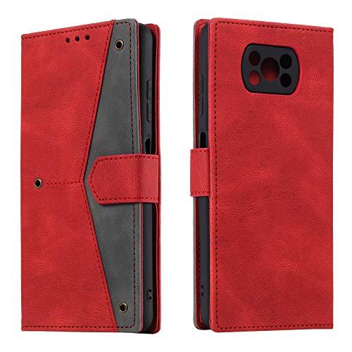 HOUSIM Hülle für Xiaomi Poco X3 Pro / X3 NFC Handyhülle mit Kartenfach Klappbar Schutzhülle Leder Tasche Flip Hülle für Xiaomi Poco X3 Pro / X3 NFC - HOHHA180243 Rot