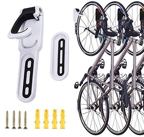 自転車 スタンド 壁掛け 室内用 ロードバイク サイクル 縦置き 壁かけ ハンガー フック 自転車用ディスプレイスタンド収納 軽量コンパクト 簡単設置 (ブラック*ホワイト)