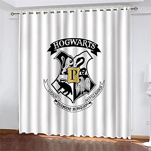 Harry Potter Cortinas Opacas con Ojales 2 Pieza 140 (An) x 260 (Al) cm Anime Térmicas Aislantes Reductoras De Ruido Cortinas para Salón Oficina Dormitorio