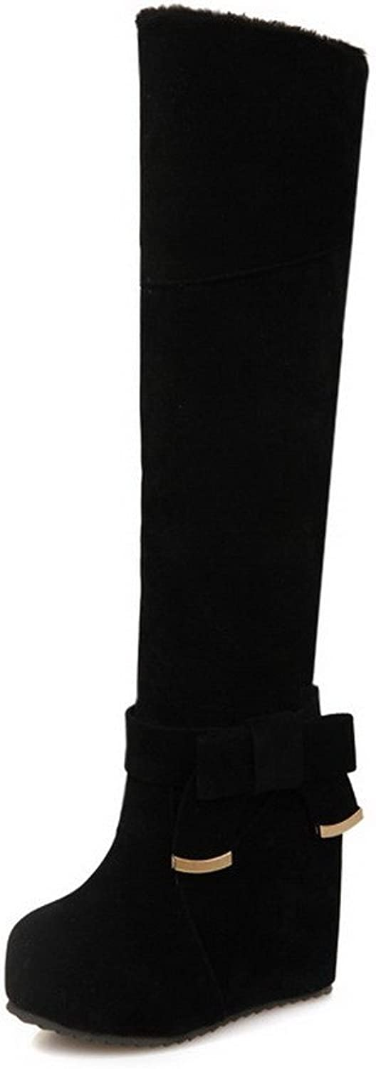 WeenFashion Women's High-Heels Frosted High-top Solid Pull-on Boots