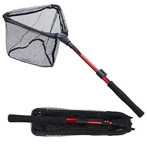 Sougayilang Fishing Net Fish Landing Net, Foldable Collapsible Telescopic Pole with EVA Handle, Durable Nylon Material Mesh, Safe Fish Catching or Releasing