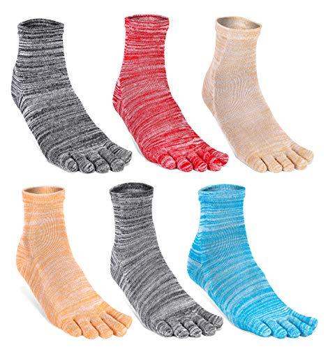 HONOW Women's Low Cut Toe Socks Ankle Cotton Running Socks(Pack of 5/6)