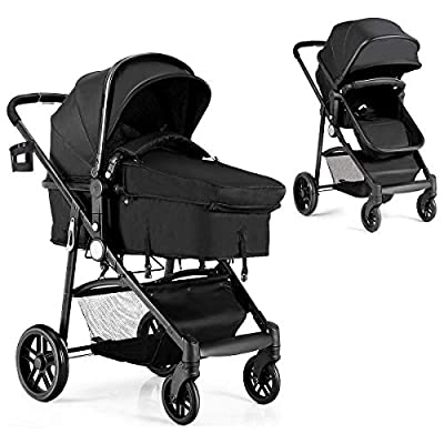 BABY JOY Baby Stroller, 2 in 1 Convertible Carriage Bassinet to Stroller, Pushchair with Foot Cover, Cup Holder, Large Storage Space, Wheels Suspension, 5-Point Harness (Black) by BABY JOY