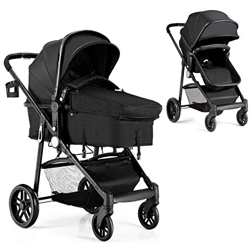 BABY JOY Baby Stroller, 2 in 1 Convertible Carriage Bassinet to Stroller, Pushchair with Foot Cover, Cup Holder, Large Storage Space, Wheels Suspension, 5-Point Harness