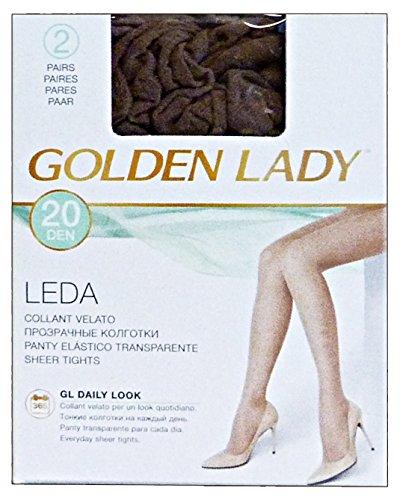 GOLDEN LADY CALZECOL22ACAS4 Leda Collant 20 den Marrone Castoro Taglia IV 2 Paia 22a, Unisex-Adulto