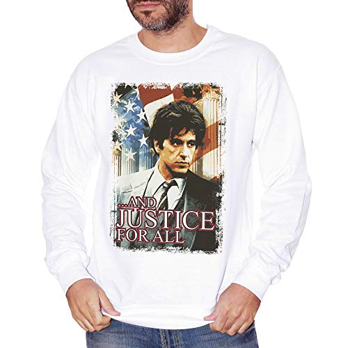 Sweatshirt Crewneck Justice for All Movie Al Pacino - Film Choose ur Color - Herren-L-Weiß