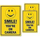 SmartSign'Smile You are On Camera Security' 2-Sided Window Label Set   One 3.75'x5.5' & Two 2.75'x4' Laminated Polyester Labels