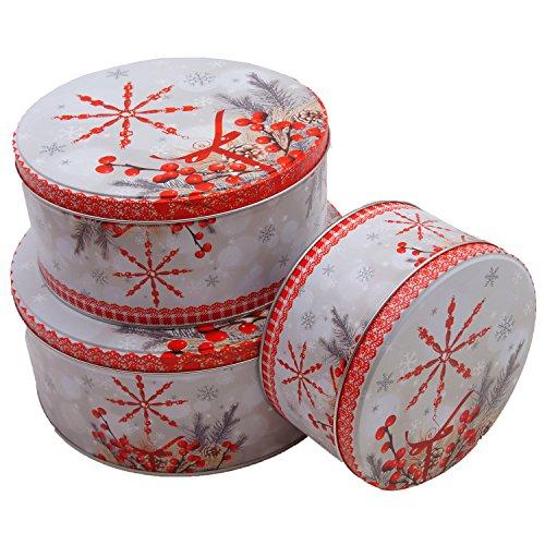 Keksdose Plätzchen Dose 3er Set Weihnachten Rentier Schnee Sterne Metalldosen (Schnee)