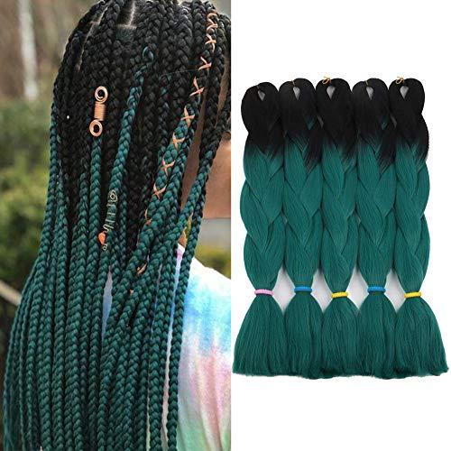 Ombre Braiding Hair Black Dark Green Braiding hair 5Pcs Jumbo Braids Synthetic Hair Extensions 2 Tone Color