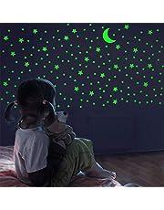 FFL DREAMS Lyser i mörkret stjärnor och måne, realistisk uppsättning med inga prickar inga kvadrater. 338 stjärnformade klistermärken och måne, lysande lim för rum, vägg, sovrum, lyser upp ditt tak och vardagsrum