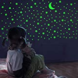 Glow in The Dark Stars and Moon, Realistic No Dots No Squares Set. 338 Star Shaped Stickers and Moon, Luminous Adhesives for Room, Wall, Bedroom, Light up Your Ceiling and Living Room Decoration