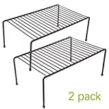 2 Pack - Kitchen Storage Shelf Rack w/Plastic Feet - Medium - Steel Metal - Rust Resistant Finish - Cups, Dishes, Cabinet & Pantry Organization [Bronze]