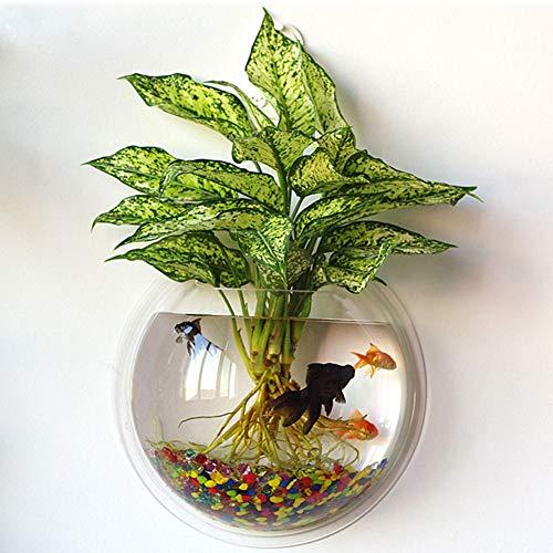 kathson Home Decoration Pot Wall Hanging Mount Bubble Aquarium Bowl Fish Tank Aquarium(White,7.2in H:3.3in) (White)