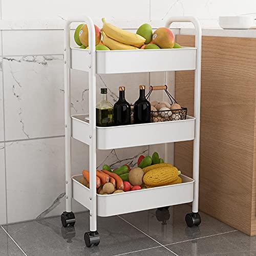 3-tier Carrito Estante Baño De Almacenamiento Móvil Móvil Unidad Unidad Organizador Almacenamiento Rack Estantería Estrecha Unidad Para Oficina Cocina Dormitorio Cuarto De Baño Lavanderí(Color:blanco)