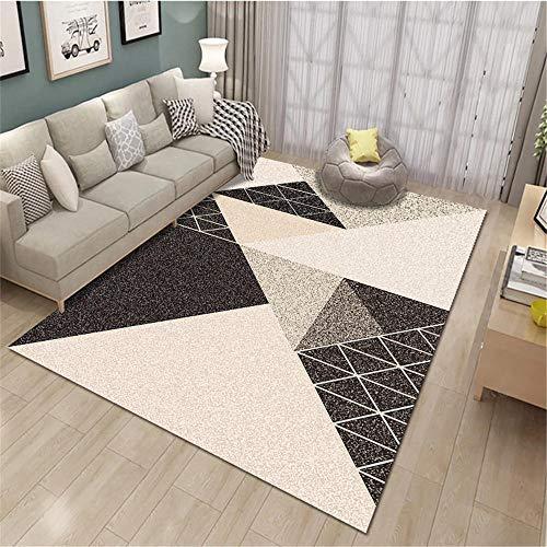 DJHWWD Hygroscopisch vloerkleed, grijs, klassiek, geometrisch, anti-slip en antislip, salon-tapijt, duurzaam, zacht tapijt