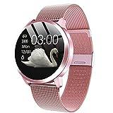 Relojes inteligentes Q8 impermeable de pulsera inteligente con la correa del metal de prueba del ritmo cardíaco del contador de paso del ciclo menstrual de la mujer rosada batería de larga duración