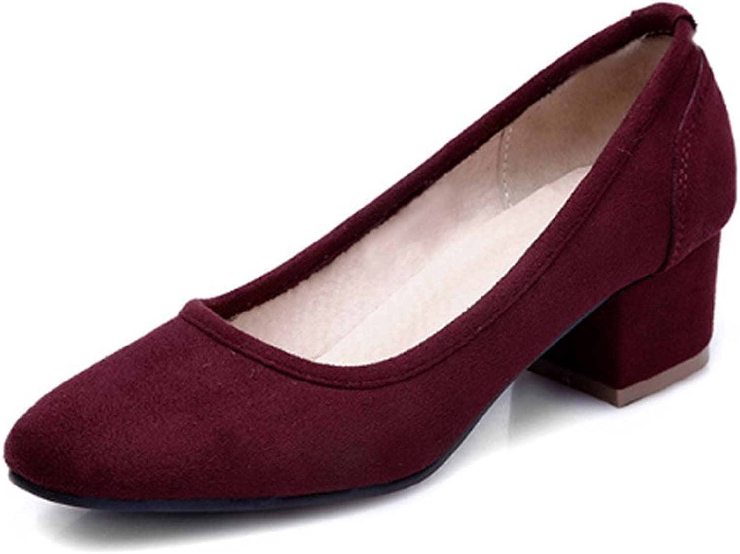Lucksender Womens Square Toe Chunky Heel Comfort Simple Style Pumps