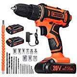 VTOTOX Cordless Screwdriver / Cordless Drill, Max 20V / 2Ah, 2x2000mAh Lithium Rechargeable Battery, Torque 42N.m, 60Min Charger, 3 / 8 Inch Drill Chuck, Variable Speed, Driling Wall.