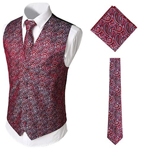 WHATLEES WHATLEES Herren Klassische Paisley Jacquard Weste & Krawatte und Einstecktuch Weste Anzug Set, Ba0213-red, L