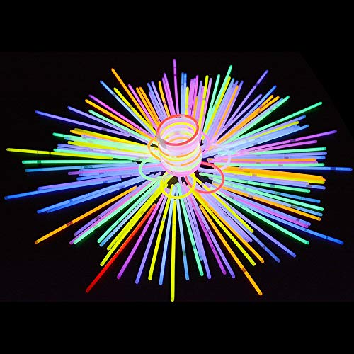 Dimoxii 200 Bâtons Lumineux Bracelets et connecteurs,Brillants Bracelets Colliers Bandeaux pour Articles de fête, Jeu de Camping, Mariages et Concerts (8 Couleurs Total 400 pièces)