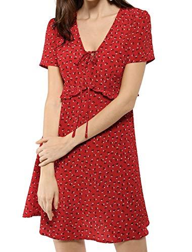 Allegra K Women's Summer Floral Print Tie V Neck Short Sleeves Ruffle Waist Short Dress M Red