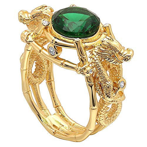 RQZQ Ring Mannen Gouden Kleur Ring Draak met Groene Steen Ronde Zirkoon Ring Vintage Punk Party Vinger Ring Sieraden voor Mannen Vrouwen
