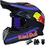HAOYUNLAI Motocross Helmet Adult, Motorcycle Cross Helmet for Mountain Bike, ATV, BMX, Downhill, Off-Road,Cross Bike, Enduro, Sport - Motorcycle/Bicycle Helmet for Teens/Children Red Bull