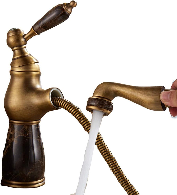 CTREKE Becken Wasserhahn Spüle Mischer Bad Wasserhahn ziehen Typ hei und kalt Einhand H