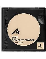 Manhattan Soft Compact Powder, jasny, kompaktowy puder z puderem do pudru dla matowej, równomiernej cery, kolor wanilia 8, 1 x 9 g