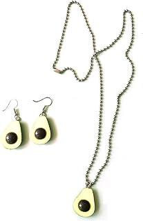 Cute Avocado Pendant Necklace Earrings Set Resin Fruit Jewelry for Women Girls Jewelry Set