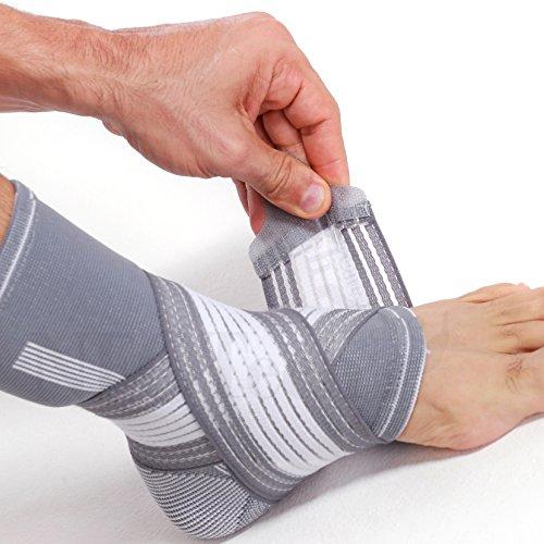 Neotech Care - Fotledsstöd (1 st) - elastiskt och andningsaktivt material - justerbart kompressionsband - för män, kvinnor, ungdom - vänster eller höger fot - grå färg - XL
