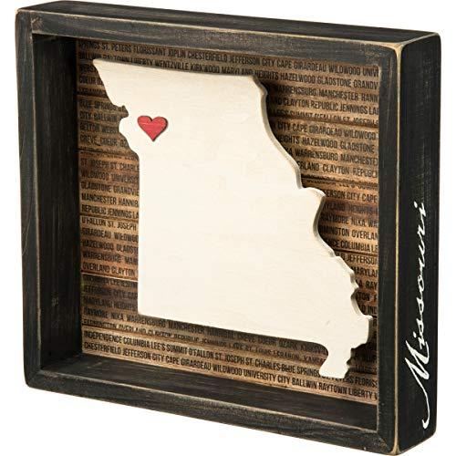 Primitives by Kathy Plaque de boîte en relief Missouri 27802 - 24,1 x 21,6 x 4,4 cm