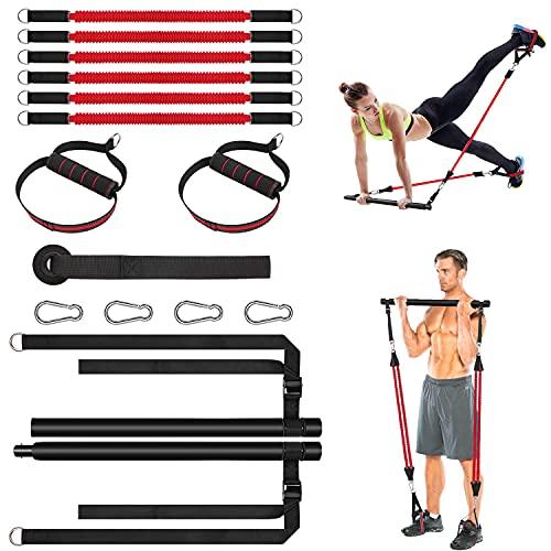 Pilates Bar Set mit Widerstandsbänder, Fitnessband Set Verstellbare Länge und Tragbar für Damen & Herren, Pilates Stick mit Fußschlaufe Up 180 lbs für Yoga, Stretch, Twisting, Sportgerät für Zuhause