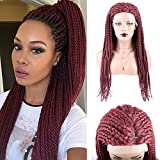 TOOCCI Pelucas rizadas Cabello humano Wigs 150% Density Braided Wigs Long Wigs para mujer 99J Color 24 pulgadas