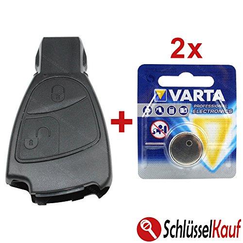 KONIKON 2 Tasten Schlüssel Gehäuse Ersatz Funk Fernbedienung mit 2X Batterie Autoschlüssel NEU passend für Mercedes Benz A B C E G S Klasse CLK SLK