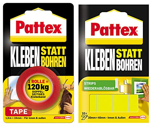 Pattex Kleben statt Bohren/Kombi-Spar-Set (1 x Klebeband + 1 x Klebe-Strips)