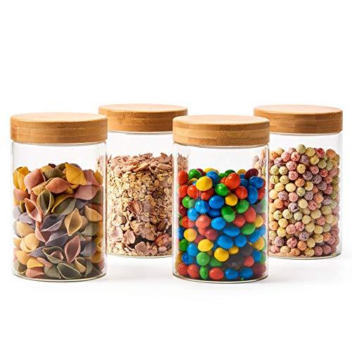 EZOWare Set di 4 Barattoli di Vetro, Contenitori per la Conservazione Alimenti con Coperchio di Legno Bambù Ermetico per Tè Caffè Farina Cereali Fagioli, Vetro Borosilicato - 1360ml