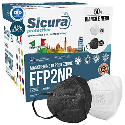 50 Mascherine FFP2 Certificate CE Nere e bianche Made in Italy logo SICURA impresso BFE ≥99% Mascherina ffp2 italiana SANIFICATA e sigillata. Pluri certificata contiene 25 Nere + 25 Bianche