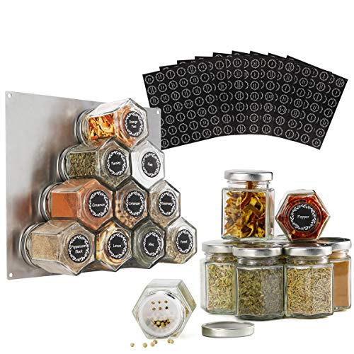 16-Pack 3oz Magnetic Spice Jar Hexagon Glass with Shaker Lids and 394pcs Labels