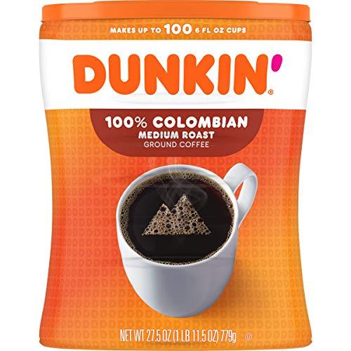 Dunkin' 100% Columbian Medium Roast Ground Coffee Canister, 27.5 Ounces (Pack of 4)