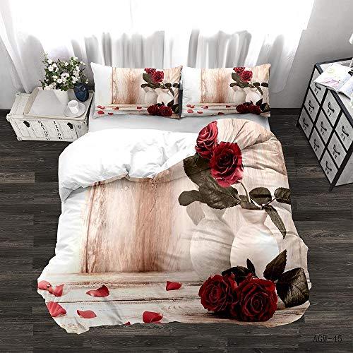 Zyttao Ropa de Cama con Estampado de Rosas en 3D, Novia, tamaño King Doble Individual, cómoda Funda nórdica y Funda de Almohada-3_135 * 200cm2 (pcs)