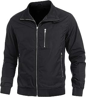 Leichte Jacke Herren Übergangsjacke mit Vielen Taschen Sommer Frühling Blouson Jacke mit Durchgehendem Reißverschluss