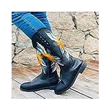 SJDFK Bota Occidental para Mujer, Zapatos Ecuestres De Caballero De Gran Tamaño Bordados, Zapatos De Cuero De Tacón Medio para Montar En Motocicleta,Black-40