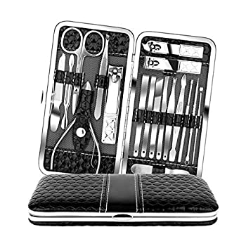 Teamkio 18pcs Stainless Steel Professional Manicure Pedicure Set| Nail Clippers Travel Hygiene Nail Cutter Care Set| Scissor Tweezers Knife Ear Pick Grooming Kits with Leather Case