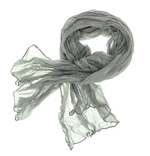 DOLCE ABBRACCIO by RiemTEX Schal Damen CRAZY MAMA Tuch aus MASH in silbernen Grau Tücher 18 in Unifarben Halstücher Knitter Schals Damen Halstuch leichter Chiffon Ganzjährig (Silber)