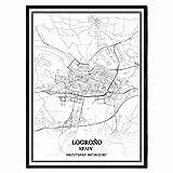 Logroño España Mapa de pared arte lienzo impresión cartel obra de arte sin marco moderno mapa en blanco y negro recuerdo regalo decoración del hogar